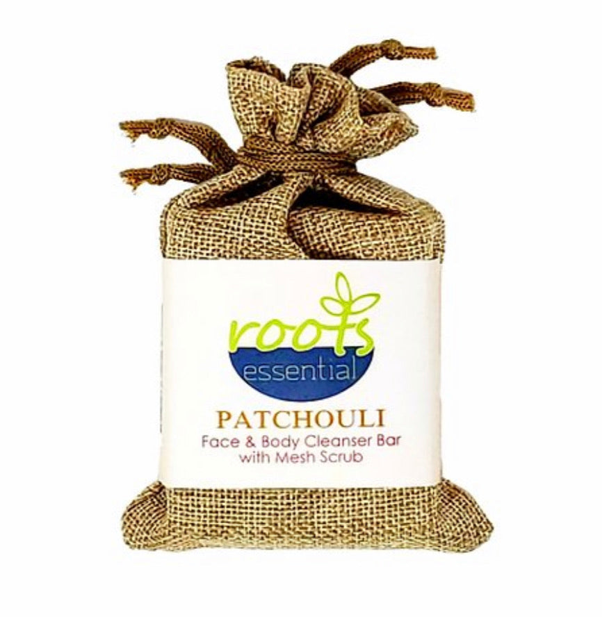 Roots Essential Patchouli Cleanser Bar + Mesh Scrub