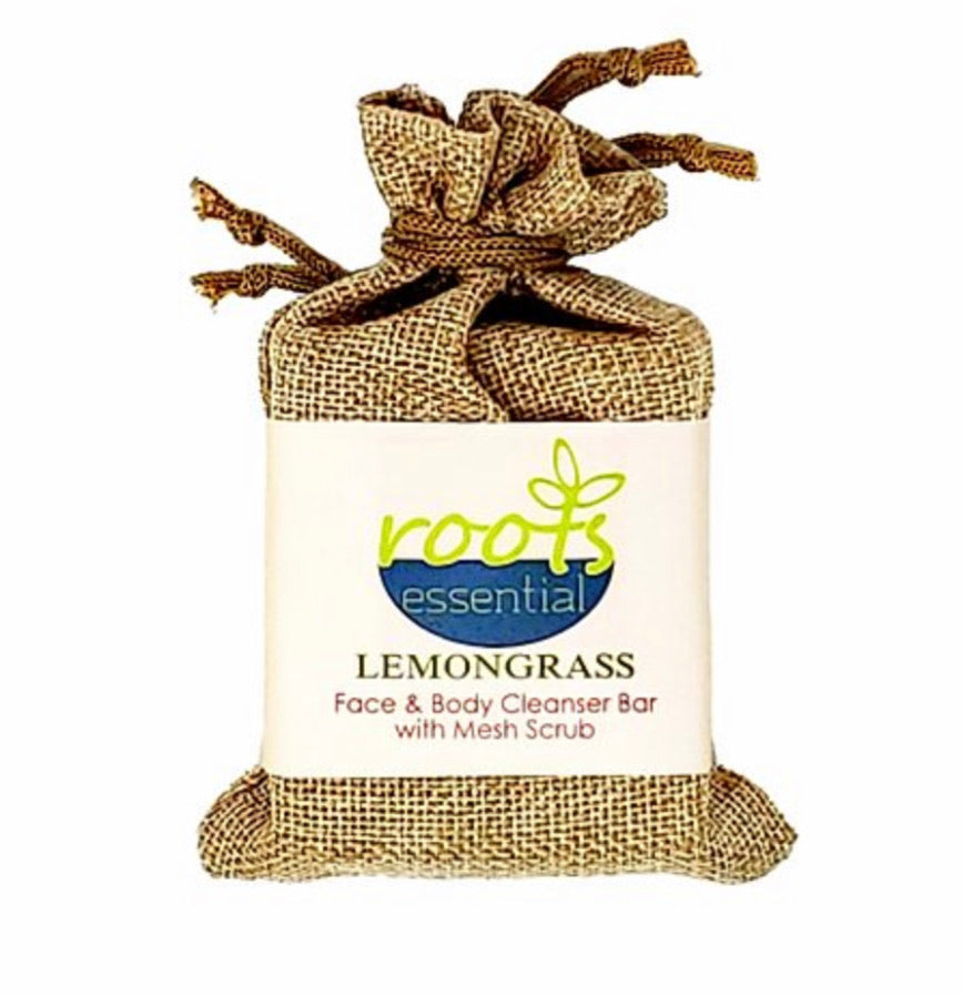 Roots Essential Lemongrass Cleanser Bar + Mesh Scrub