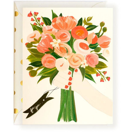 For You Bouquet Floral Greeting Card With Pink & Gold Accents - The First Snow