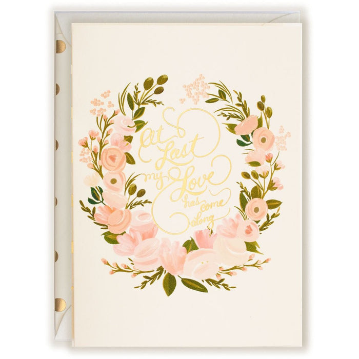 Wedding Card At Last my Love has come Along with gold foil - The First Snow