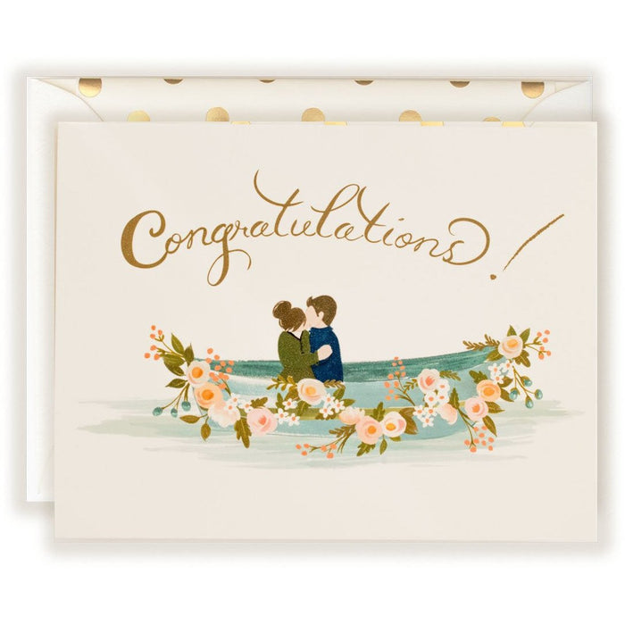 Congratulations Card with Row Boat and Couple - The First Snow