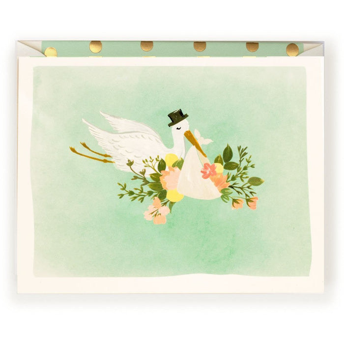 Baby Stork Illustration Card in mint - The First Snow