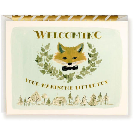 Welcome Handsome Fox card - The First Snow