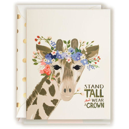 Giraffe Stand Tall & Wear a Crown Encouragement Card - The First Snow