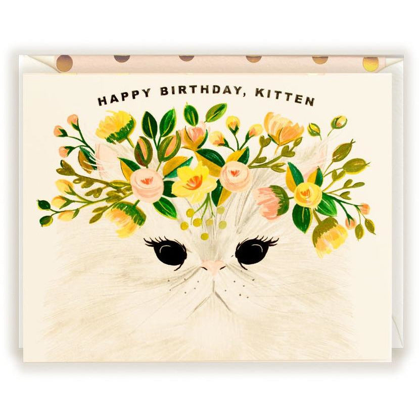 Happy Birthday, Kitten Card - The First Snow