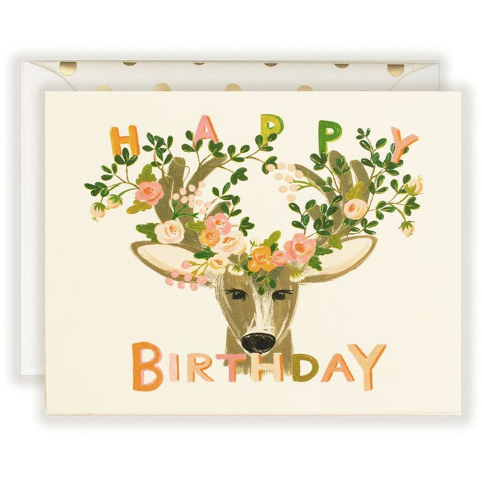Happy Birthday Deer with whimsical florals - The First Snow