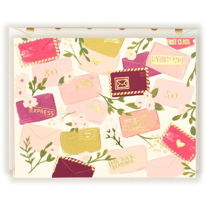 Sweet Postals in corals and blush card - The First Snow