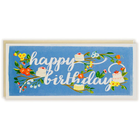 Happy Birthday Card Branches & Cake - The First Snow