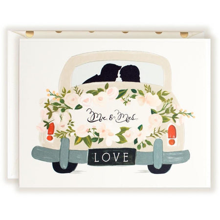 Mr & Mrs Card Vintage Getaway Car - The First Snow