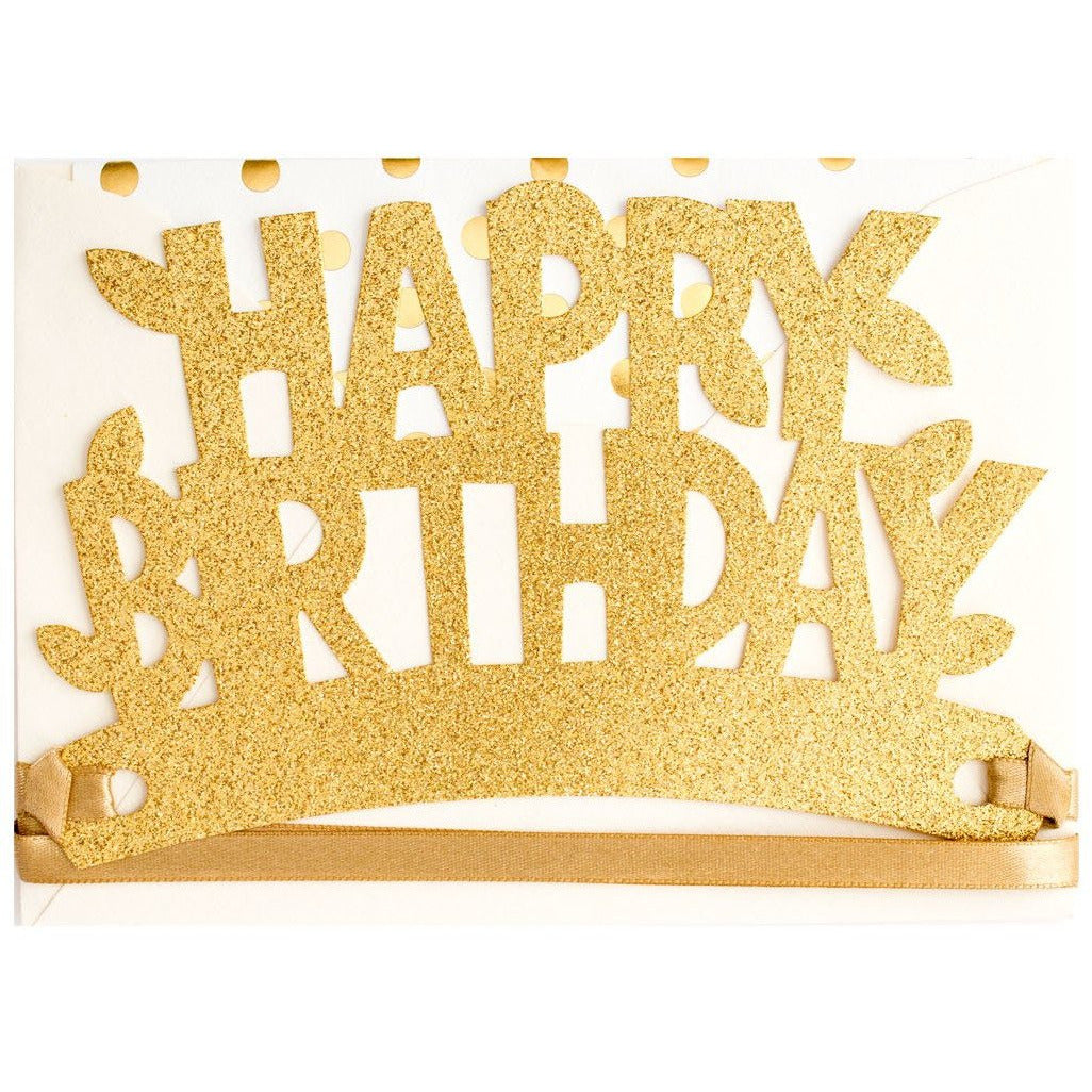 Gold Happy Birthday Glitter Crown Card - The First Snow