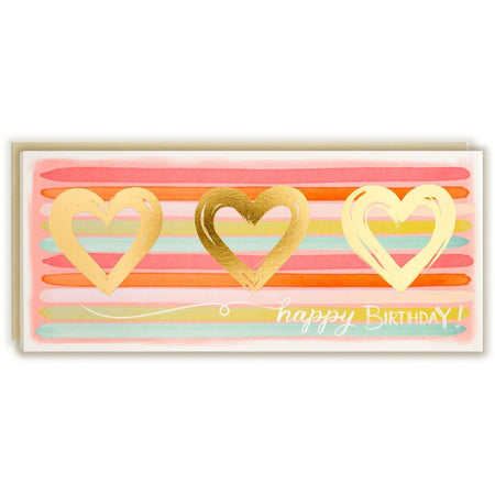Happy Birthday Stripes Gold Hearts - The First Snow