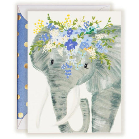 Talulah Elephant Floral Crown card - The First Snow