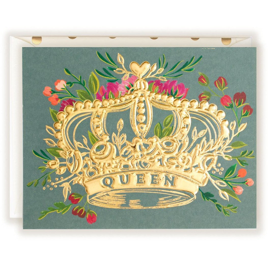 Queen Gold Foil Crown with florals - The First Snow
