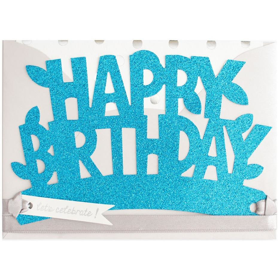 Teal Happy Birthday Glitter Crown Card - The First Snow