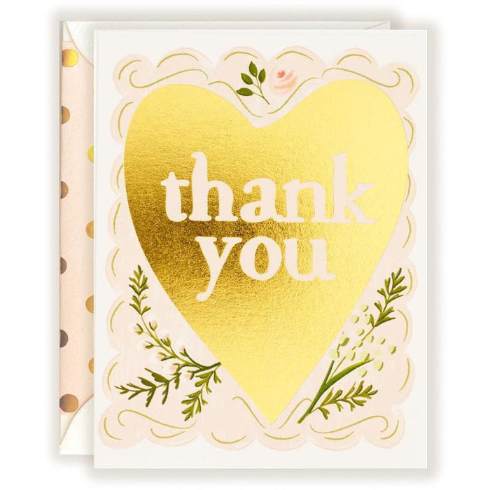 Thank You Gold Foil Heart Card - The First Snow