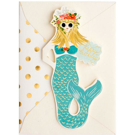 Mermaid Happy Birthday folded card - The First Snow