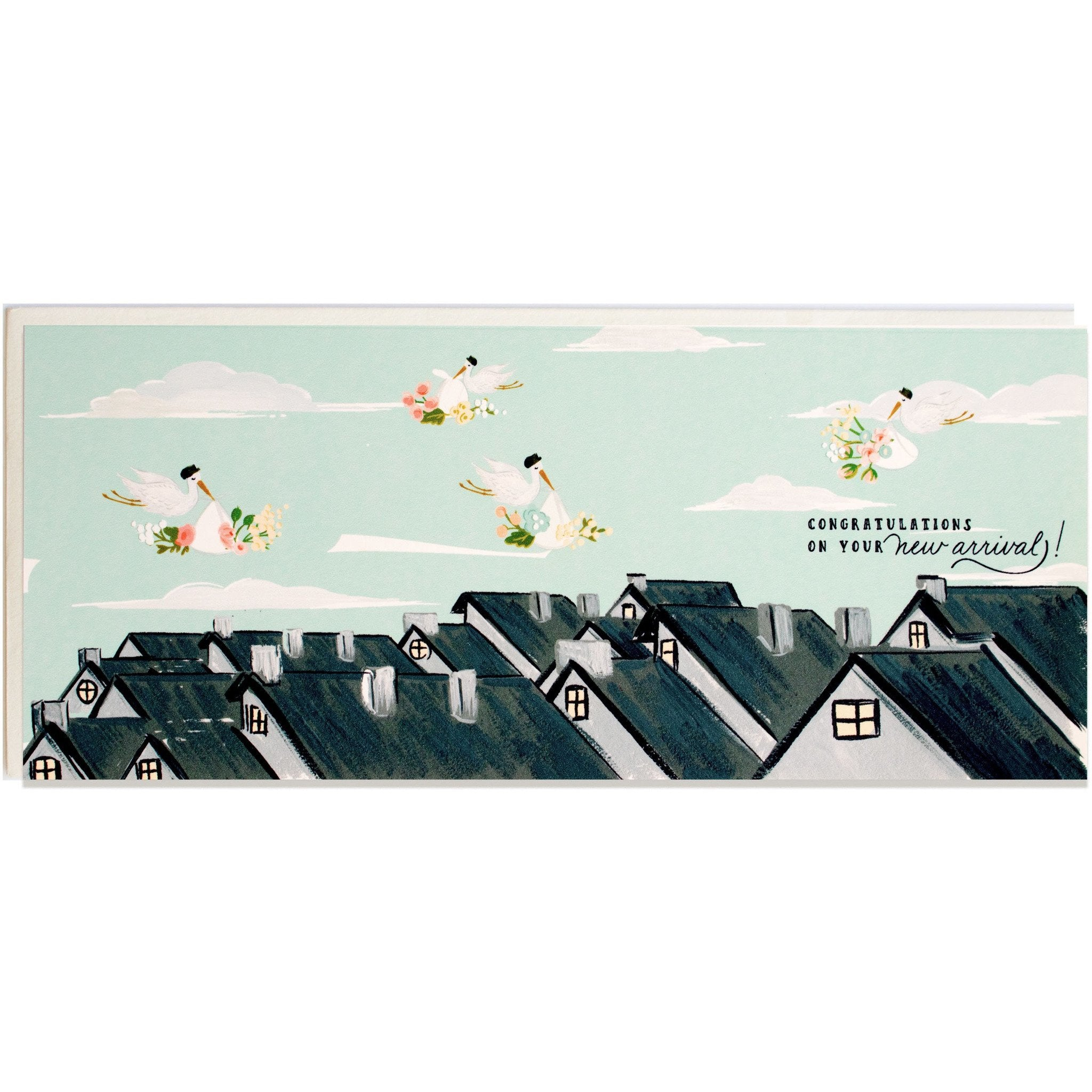 Rooftop Special Delivery Baby card - The First Snow