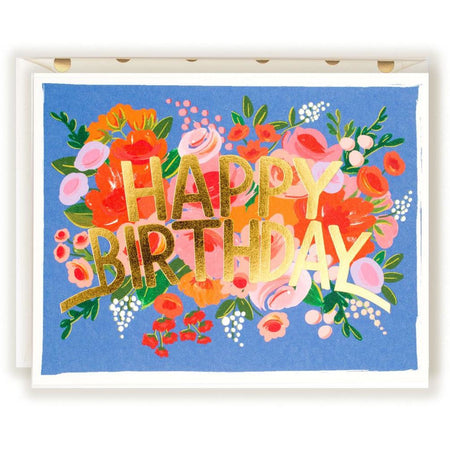 Blue Floral Happy Birthday Gold Card - The First Snow