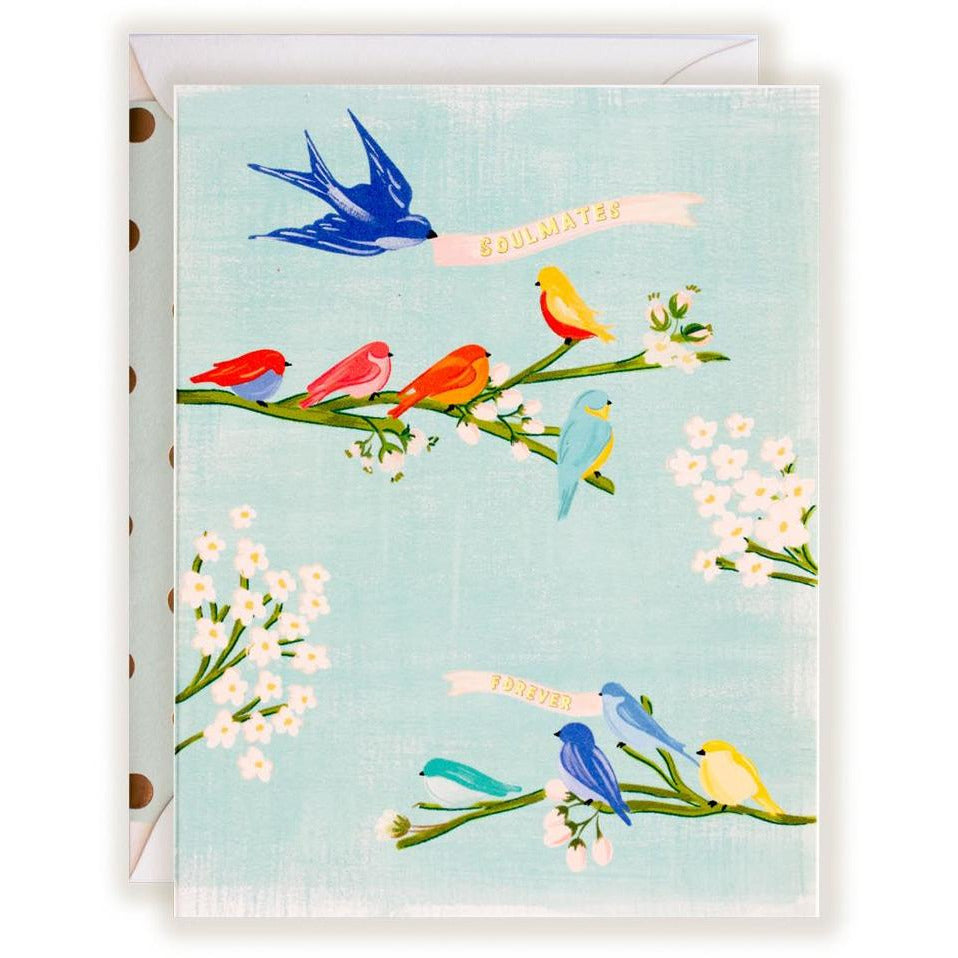 Painted Soulmates Forever Card with Bird and Floral Design - The First Snow