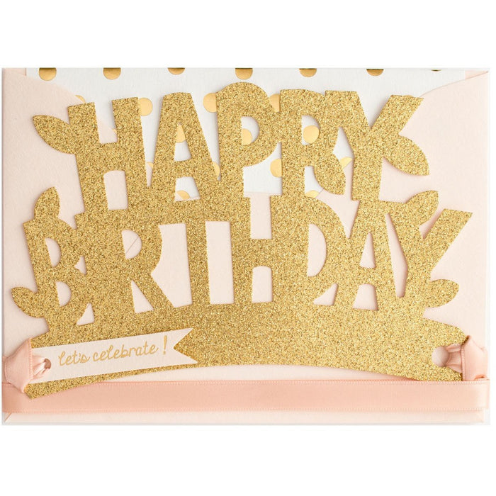 Happy Birthday Blush & Gold Glitter Crown Card - The First Snow