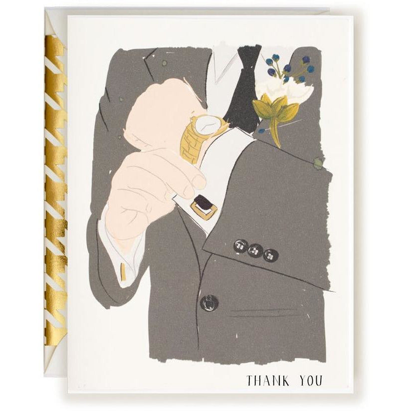 Thank You Card Guy | Groomsman Card - The First Snow