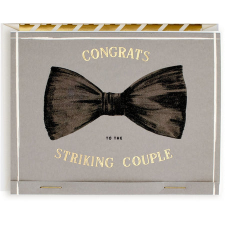 "Punny ""Congrats to the Striking Couple"" Match Book Card with Envelope - The First Snow"