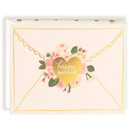 Lovely Gold Foil and Floral Happy Anniversary Celebration Card - The First Snow