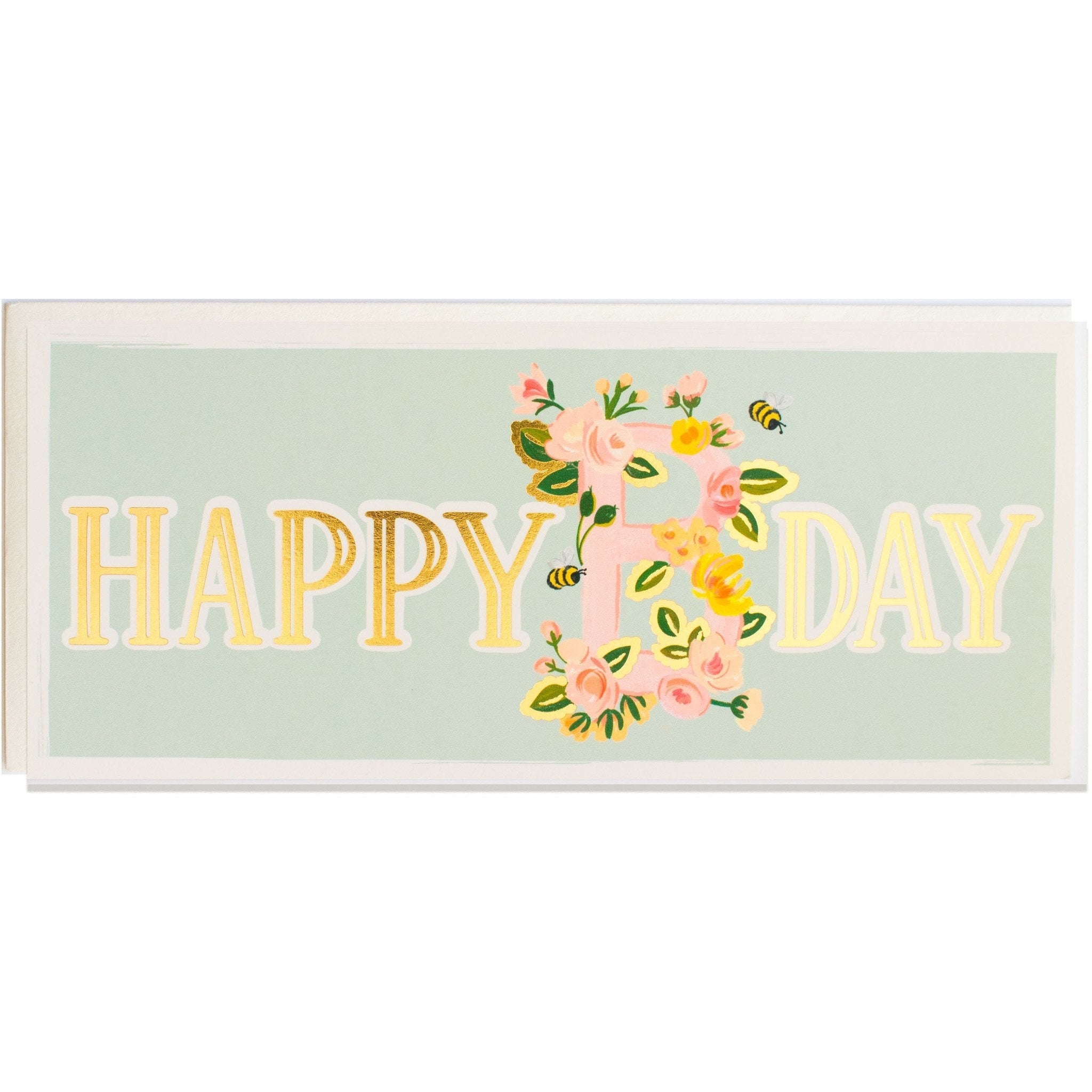Happy Birthday Floral and Gold Foil Long Birthday Card w/ Envelope - The First Snow