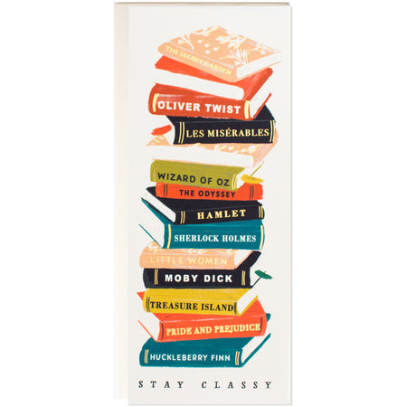 """Stay Classy"" Stacked Vintage Books Long Card for Book Lovers - The First Snow"