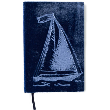 Handmade Sailboat Velvet Notebook for the Adventurous Writer - The First Snow