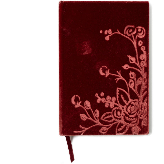 Unique Handmade Botanical Floral Silk Velvet-Covered Notebook - The First Snow