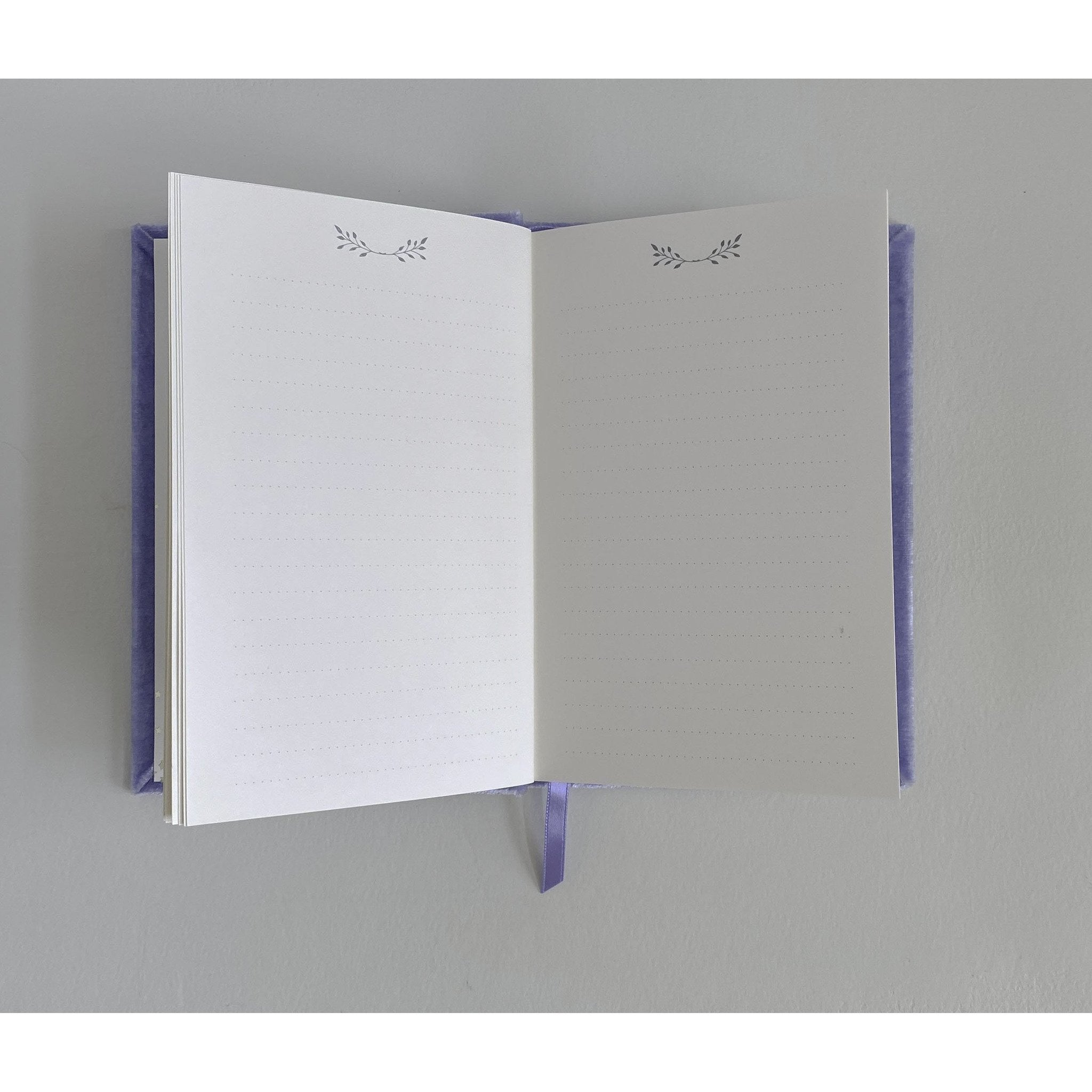 Handsome Petite Silk Velvet-Covered Vows Book for Weddings with Ribbon Bookmark - The First Snow