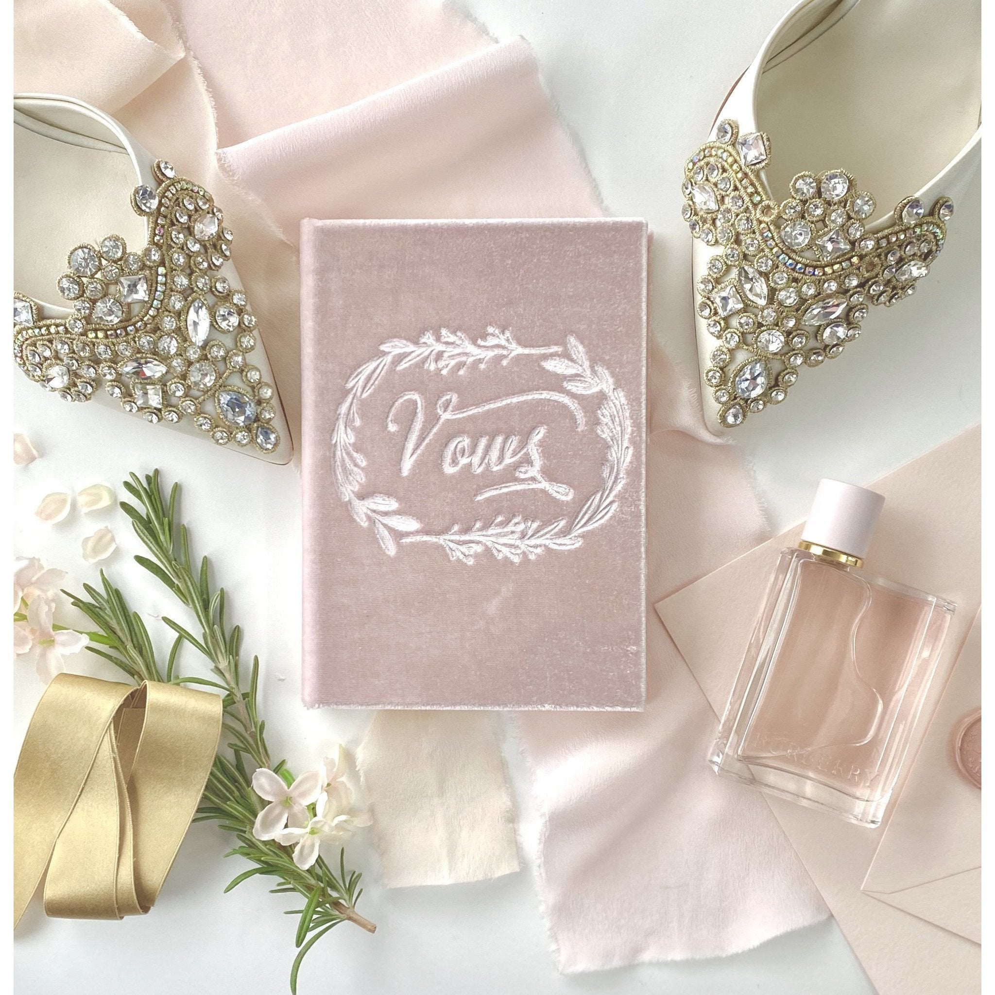 Petite Soft Velvet-Covered Vows Book for Weddings with Ribbon Bookmark - The First Snow