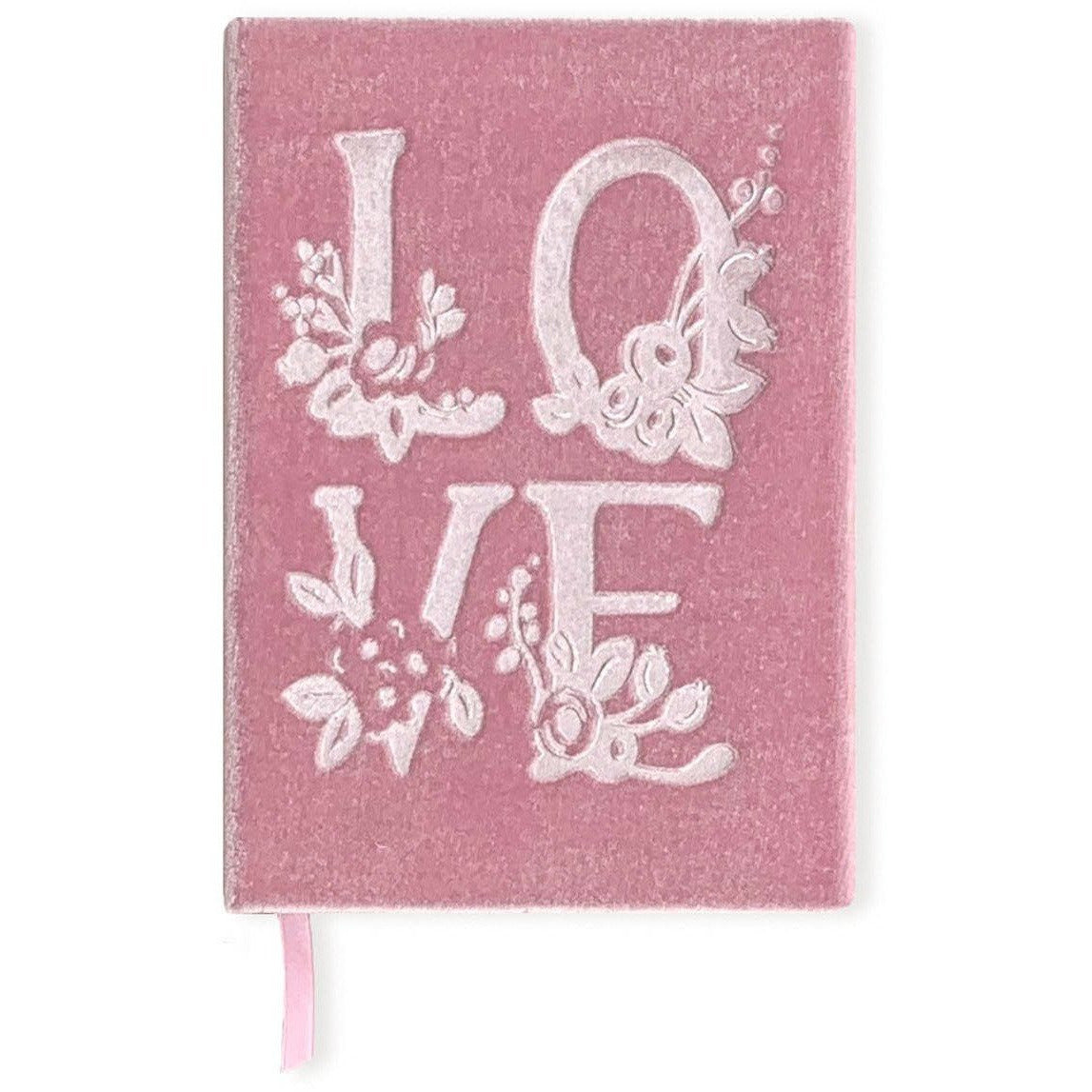 Love-Themed Silk Velvet-Covered Lined Notebook with Fabric Bookmark - The First Snow