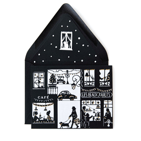 Black & White Papercut Toy Store Holiday Greeting Card w/ Envelope - The First Snow