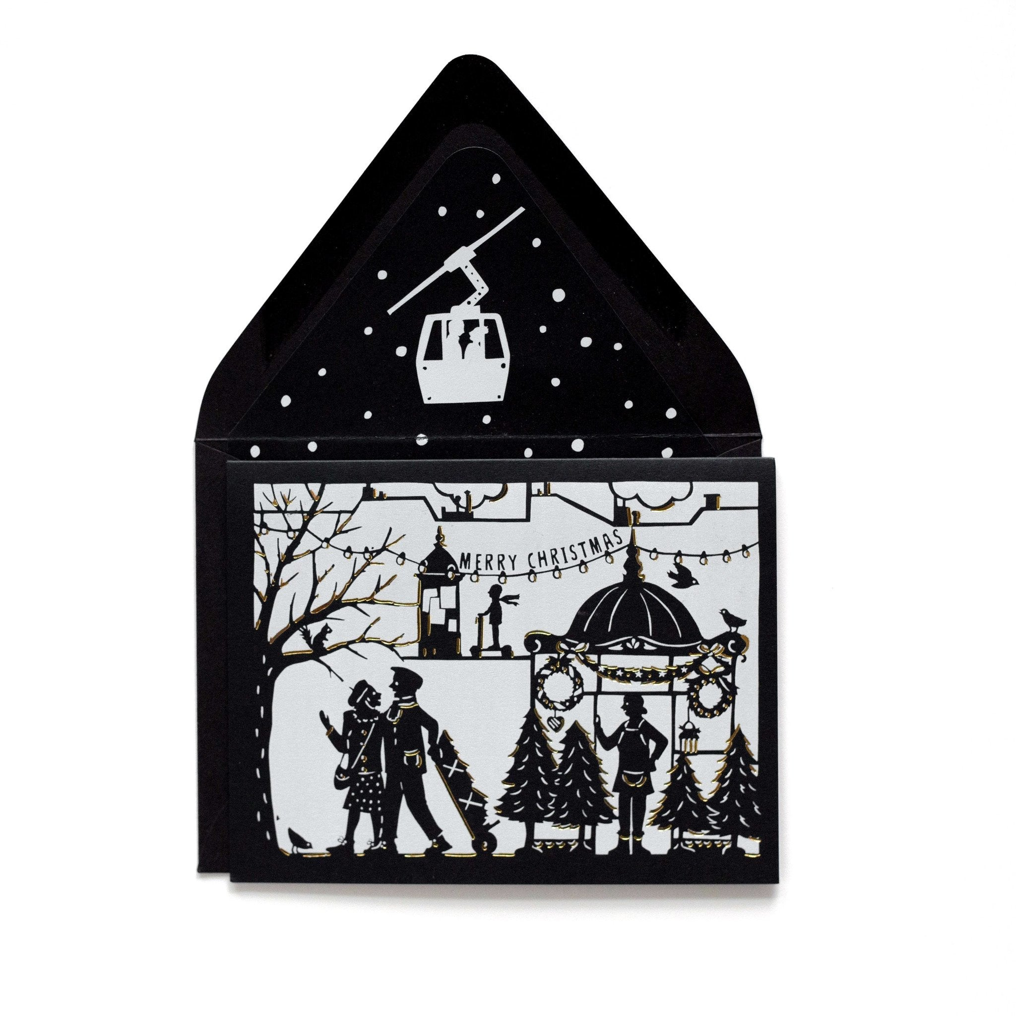 Charming Papercut Christmas Tree Market Holiday Card w/ Envelope - The First Snow