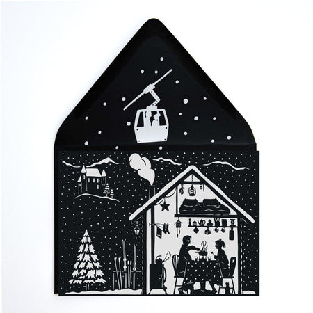 Ski Haus Black & White Papercut Holiday Greeting Card w/ Envelope - The First Snow