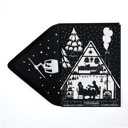 Black & White Papercut Mountain Ski Cabin Christmas Card w/ Envelope - The First Snow