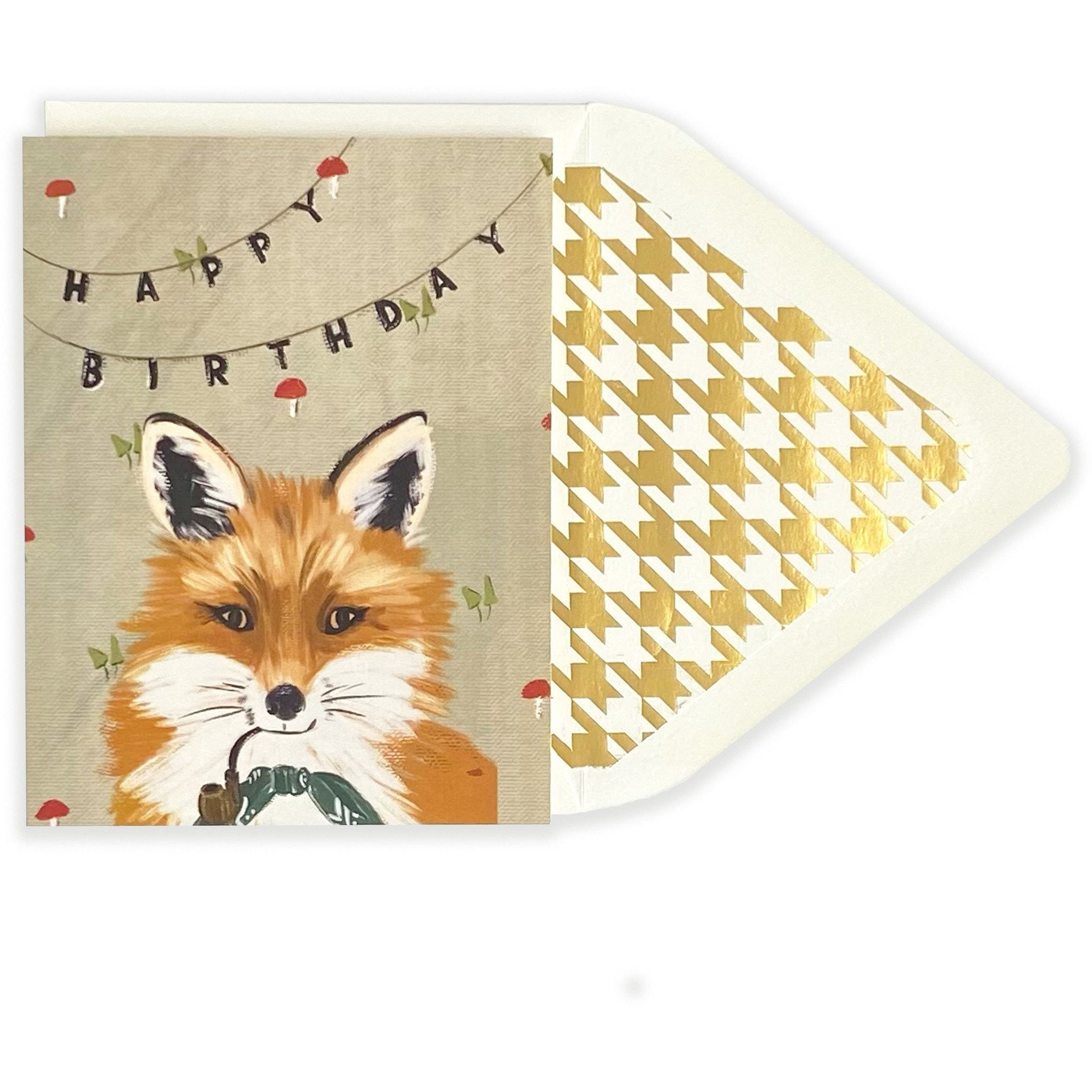 Distinguished Fox Happy Birthday Card - The First Snow