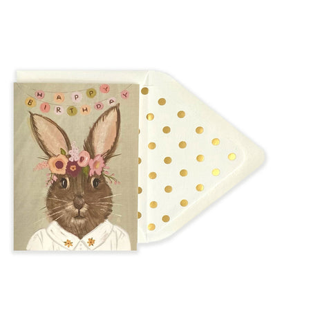 Happy Birthday Rabbit/Hare Floral Wreath Card - The First Snow