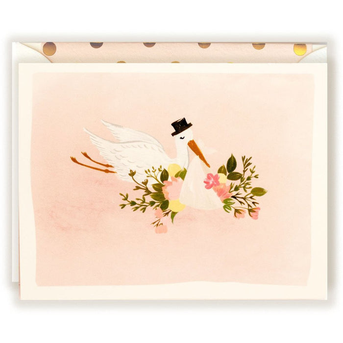 Baby Stork Illustration Card in blush - The First Snow