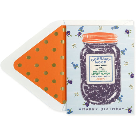 """Current Mood"" Fun Mason Jar Print Happy Birthday Card with Envelope - The First Snow"