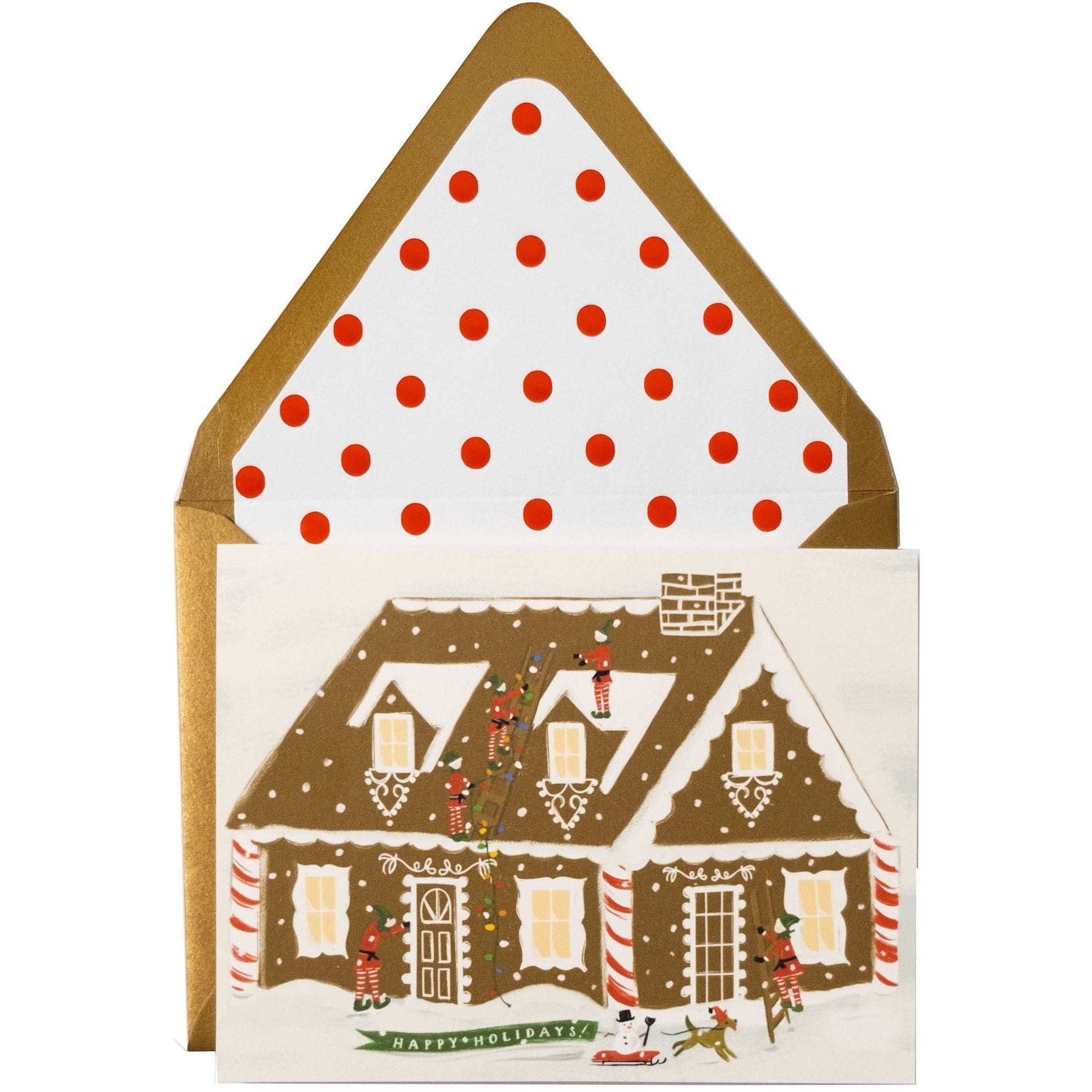 Comforting Gingerbread House Happy Holidays Card and Matching Envelope - The First Snow