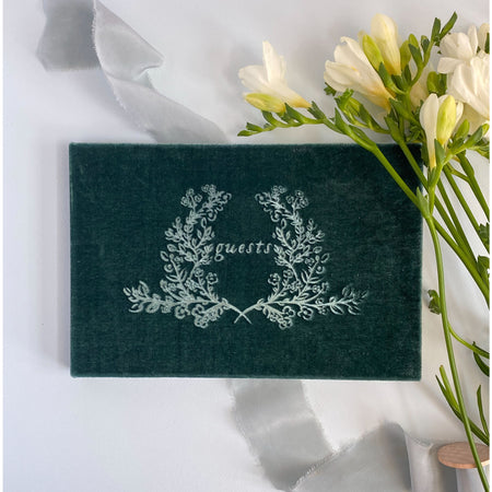 Laurel Wreath Crest Silk Velvet Guestbook - The First Snow