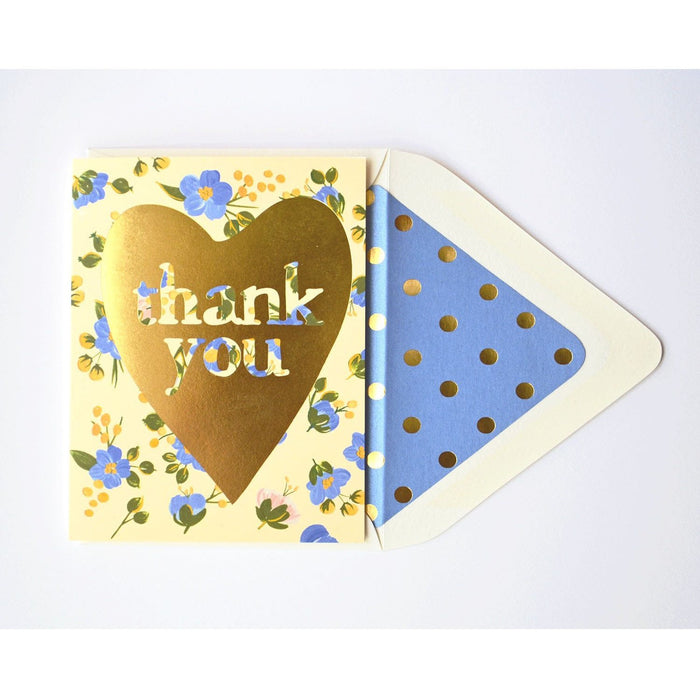 Thank You Gold Heart with Blue Florals - The First Snow