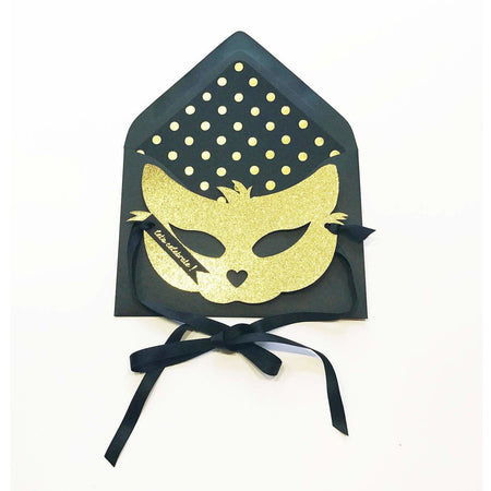 Gold Glitter Cat Mask Card - The First Snow