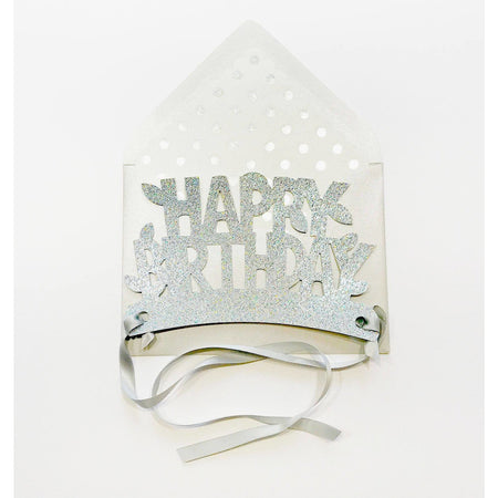 Silver Happy Birthday Glitter Crown Card - The First Snow