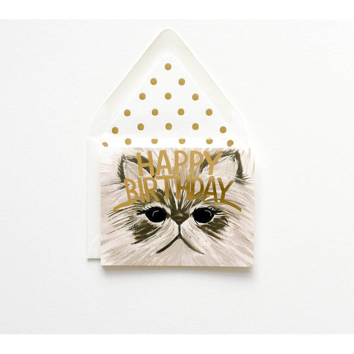 Handsome Cat card with Happy Birthday gold - The First Snow