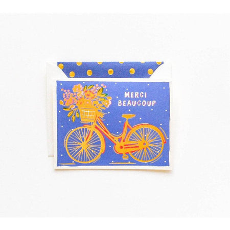 Merci Beaucoup Gold Bicycle Card - The First Snow