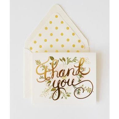 Thank You Card Gold and Blush - The First Snow